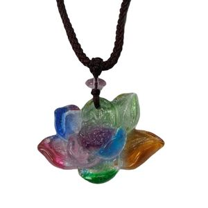 Colourful Glass Lotus Blossom Pendant Necklace